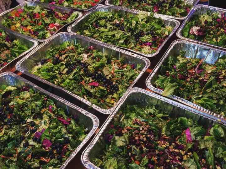 Prepared Salads for the Community Solidarity Vegan Thanksgiving, the world's largest.