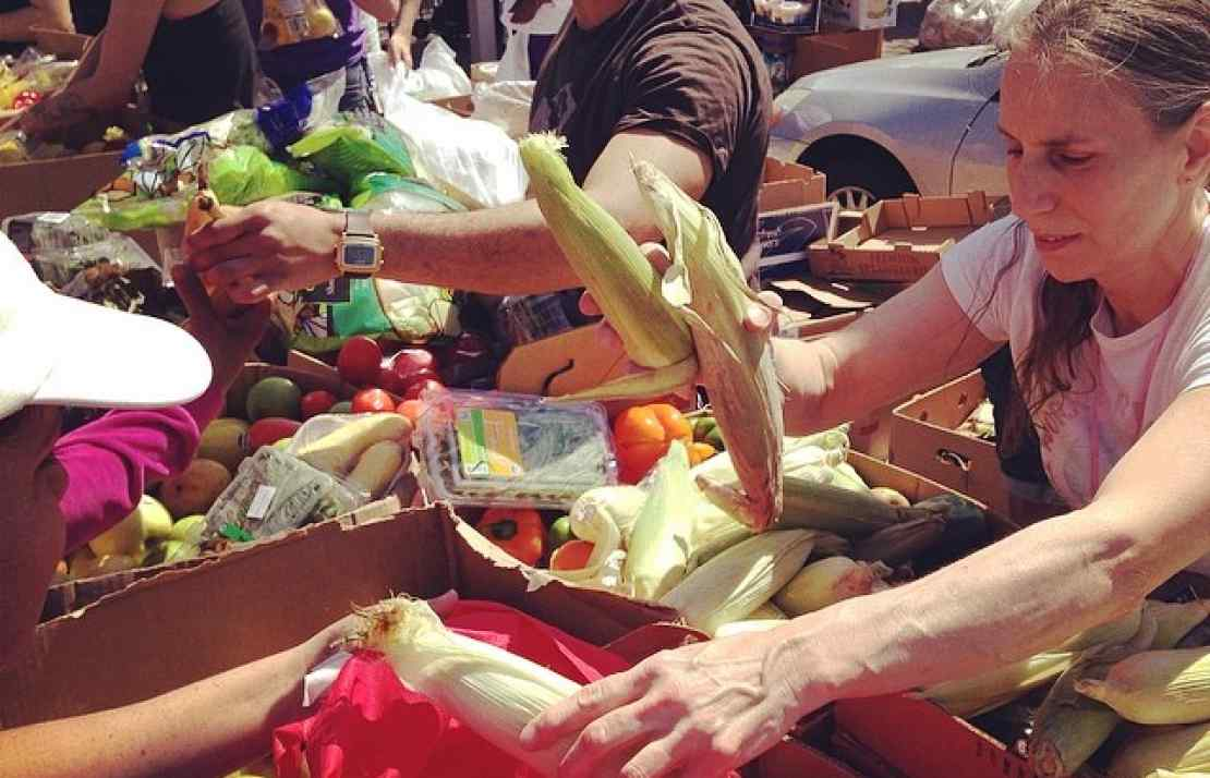 Roze Zacchi sharing tons of produce at the Community Solidarity Hempstead Food Share